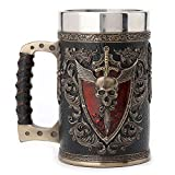 Veronese Design 6.25 Inch 0.5 L Winged Sword And Shield Skull Crest Beer Stein Stainless Steel Tumbler Antique Bronze Finish Sculpture Cup