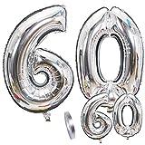 globos numeros 60 años, Number globo número 60 plateado para Hombres Mujeres niños,40'y 16'Figuras globo de lámina de helio inflable, gigante grande decoración fiesta de cumpleaños boda (xxxl 100cm)