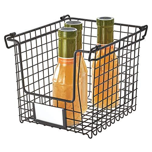 iDesign Aufbewahrungskorb, Korb klein für Bad, Küche und Büro, stapelbarer Metallkorb mit Griffen für Kosmetik, Schreibwaren etc., schwarz