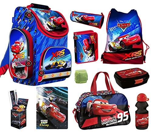 Familando Disney Cars Schulranzen-Set 16tlg. mit Sporttasche Federmappe BLAU Ranzen 1. Klasse