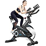 Pooboo Indoor Cycling Bike Belt Drive Exercise Bike Stationary with Comfortable Seat Cushion, Tablet Holder and LCD Monitor for Home Workout