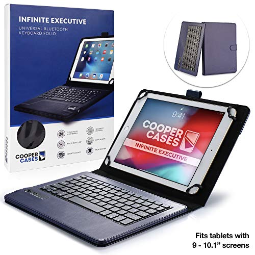 Cooper Cases Infinite Executive Custodia A Libro Con Tastiera Bluetooth, Per Tablet Da 9' 10,1' Pollici In Blu Scuro (Compatibile Con Tablet Windows/Android E Ios, Universale, Cover In Pregiata Pelle Sintetica, Supporto Integrato, Tastiera Qwerty Rimovibile, Batteria Ricaricabile)