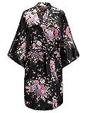 EPLAZA Women Floral Satin Robe Bridal Dressing Gown Wedding Bride Bridesmaid Kimono Sleepwear (Black, S/M)