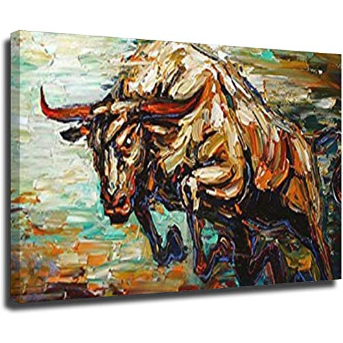 Pintado a mano Abstracto Bull Pintura al óleo Arte Abstracto Animal Óleo sobre Lienzo Paleta Cuchillo Pesado Texturizado Marco-estilo1 8 × 12 pulgadas (20 × 30 cm)