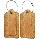 FULIYA Etiquetas para equipaje de viaje, etiquetas de identificación para tarjetas de visita, juego de 2, superficie, pared, naranja, textura
