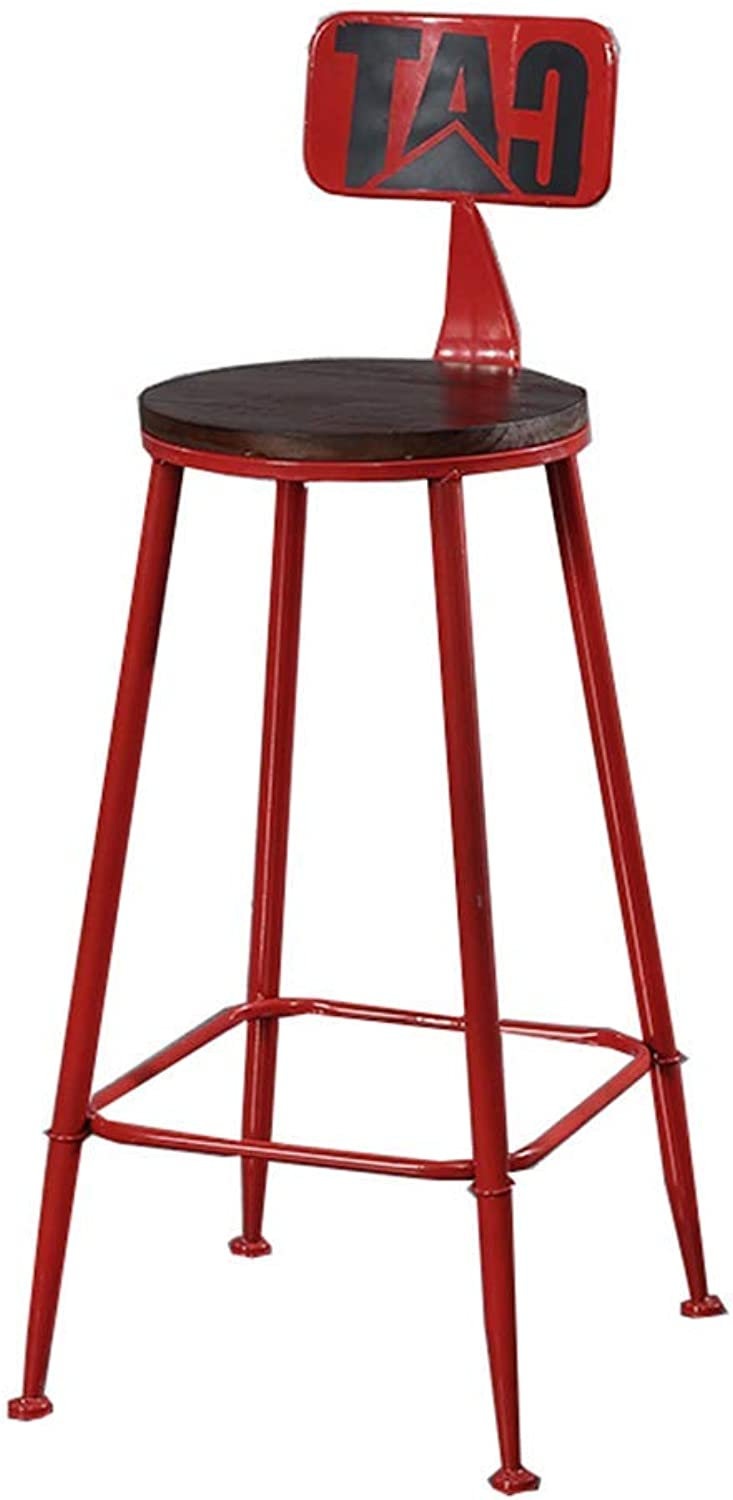 Bar Stool, Retro Industrial Style Bar Stool High Back BarStools Dining Chair,6 colors for Kitchen   Pub   Café (color   Black, Size   74CM)