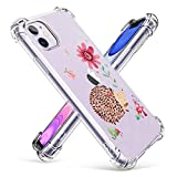 Case for iPhone 11 Transparent Clear Slim Fit Grily Case with Corners Bumper Protective Hedgehog Pattern for Girls and Women