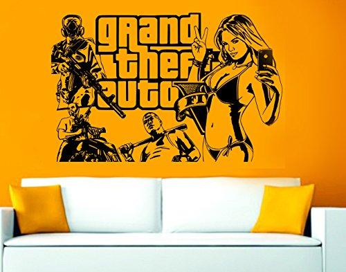 D&C GTA 5 Grand Theft Auto 5 Muursticker/Decal Spelen 90 x 58 cm Zwart