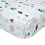 Lambs & Ivy Oceania 100% Cotton Fitted Crib Sheet - White with Blue Nautical/Aquatic Fish and Octopus