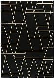 De'Carpet Alfombra Interior&Exterior Polipropileno Estilo Nórdico Escandinava Geométrico Negro (60x110cm)