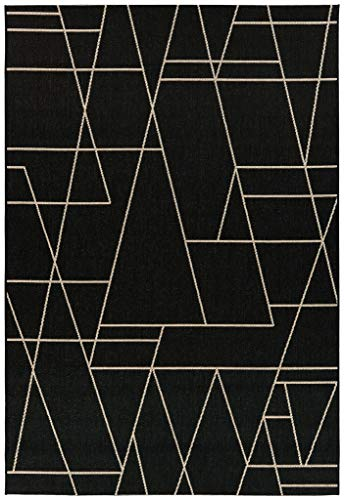 De'Carpet Alfombra Interior&Exterior Polipropileno Estilo Nórdico Escandinava Geométrico Negro (80x150cm)