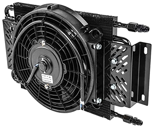 JEGS High Performance Transmission Cooler | 26,000 GVW | Fan Can Be Used As A Pusher Or Puller | 11.25 inches x 18.5 inches x 3.75 inches | -6 AN Connections