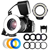 Macro Ring Flash Photography, Travor 18 LED Flash Light with LCD Display Power Control 8 Adapter Rings 4 Light Diffuser for Canon Nikon Sony Panasonic Olympus Such as Canon 550D 70D Nikon