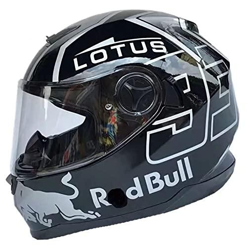 TKTTBD Integralhelm Helm Motorradhelm Street Helm Unisex Adult Für Motorrad Mit Anti-Fog-Doppelspiegel, Red Bull Klappbarem Integralhelm Racing Helm ECE-Geprüft A,XL-61-62cm