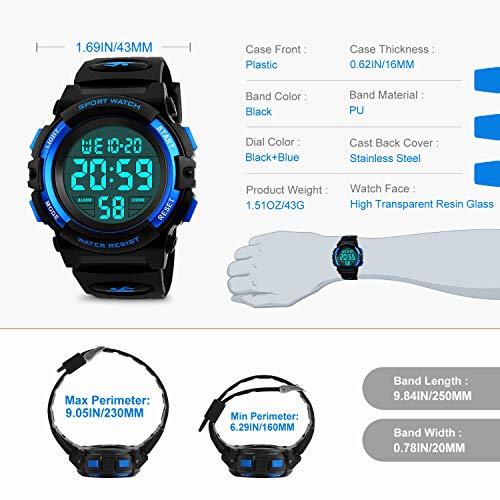 Kids Digital Watch,Boys Sports Waterproof Led Watches With Alarm,Wrist Watch For Boys Girls Childrens
