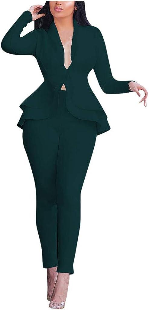 Lemooner Damen Elegant Karriere Hosenanzuge Anzugjacke Zweiteiler Anzug Set mit Hosen Bolero D/ünne Jacken V-Ausschnitt Freizeitjacke Lotusblatt Blazer Jacke Reverskragen Business Anzug Set Slim Fit