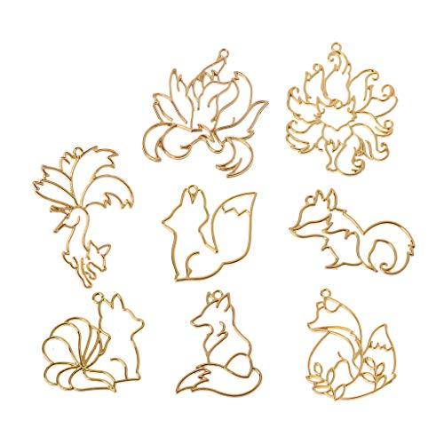 bibididi Moldes de fundición de Resina, 8 Piezas Gold Fox Animal Colgante Bisel Abierto Marco de Resina Fabricación de Joyas