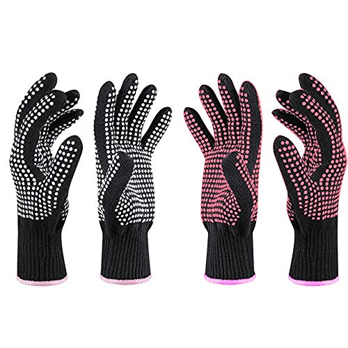 Lifreer Hitzebeständige Handschuhe, hitzebeständige Handschuhe, Schutzhandschuhe, Heizhandschuhe, hitzebeständige Handschuhe für Lockenstab, Lockenstab und Lockenwickler (Rosarot und Weiß), 4 Stück