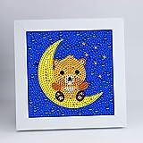5D Pintura de Diamantes con Marco de Madera para niños – Diamond painting kit completo para principiantes – Cuadros diamantes para niños y niñas (Teddy)