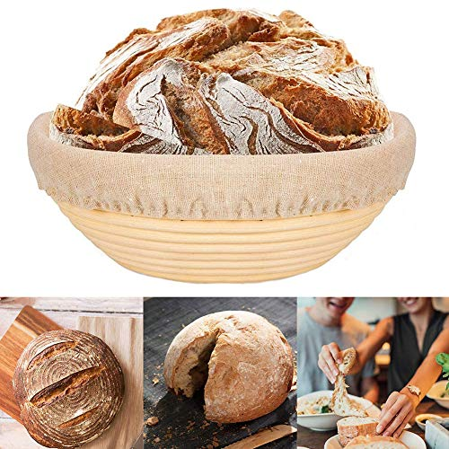 Banneton Proofing Basket, IceRosin 9 Inch Round Bread Proofing Baskets for Bread Dough Rising & Sourdough Proving, Natural Rattan Bread Proving Bowl with Linen Liner