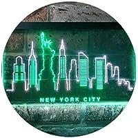 New York City Skyline Silhouette Dual Color LED看板 ネオンプレート サイン 標識 白色 + 緑色 600 x 400mm st6s64-i3275-wg