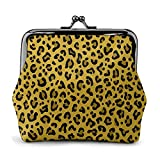 Coin Purse Wallet PU Leather Bag Leopard Print in Mustard Yellow Collection Leopard Spots Punk Rock Animal Print Womens Wallet Clutch Bag Ladies Retro Vintage Print Small Hasp