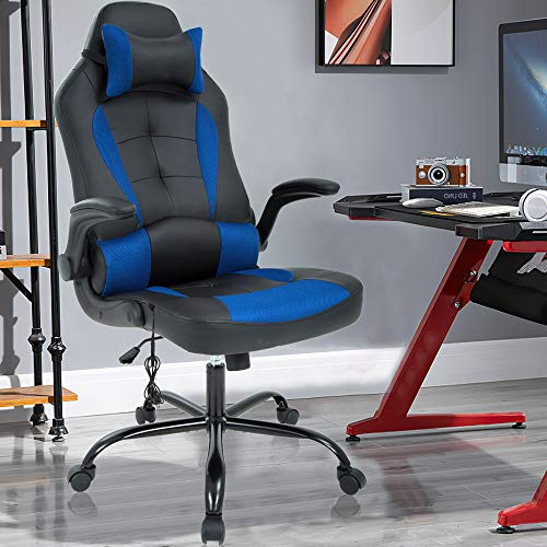 Massage Gaming Chair Ergonomic Office Chair High Back Desk Chair PU Leather Executive Chair with Lumbar Support Headrest Armrest PC Racing Computer Chair Task Rolling Swivel Chair, Blue