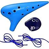 Ocarina - WENTS 12 Hole Plastic Ocarina Blue and 6 Hole Ceramic Ocarina Purple for Ocarina Instrument Amateurs and Beginners