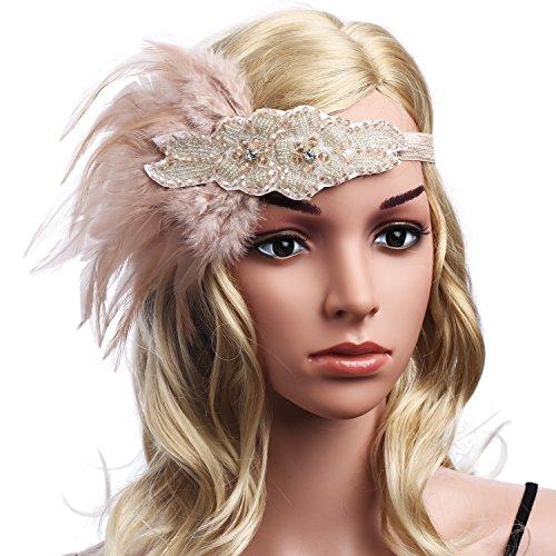 BABEYOND Frauen Kristall Haarband Perlen Stirnband Federn Flapper Stirnband Vintage Stirnband 1920 - 6