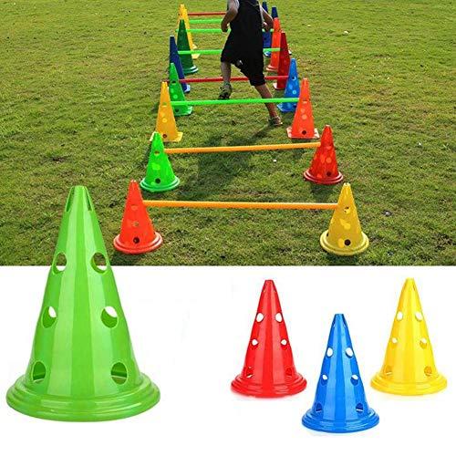 Yunjie Set de 5 Conos Entrenamiento Futbol Vallas de Obstáculos Agility Perros incluir 10 Conos y 5 Palos, para Deportes Fútbol y Entrenamiento del Perro,Rojo