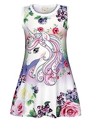AmzBarley Camisón de Algodón Pijama Niña Unicornio Chica Manga Larga Vestido Fiesta Entero una Pieza Ropa de Dormir Traje Disfraz Ducha Noche (Blanco 156, 3-4 años)