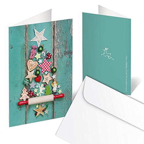 Set di 10Cartoline di Natale Biglietti, in verde, rosso, multicolore, con albero di Natale, stile...