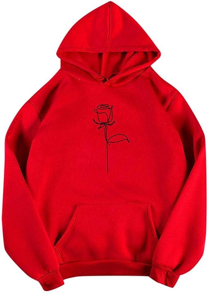 Toeava Plain Hoodies for Women, Womens Casual Long Sleeve Flower Print Drawstring Pullover Sweatshirt Hooded Pocket Tops