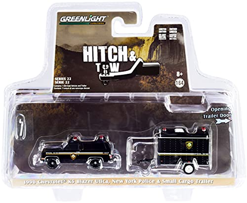 1990 Chevy K5 Blazer Black & Small Cargo Trailer Utica Police Department (New York) Hitch & Tow 1/64 Diecast Model Car by Greenlight 32220 D