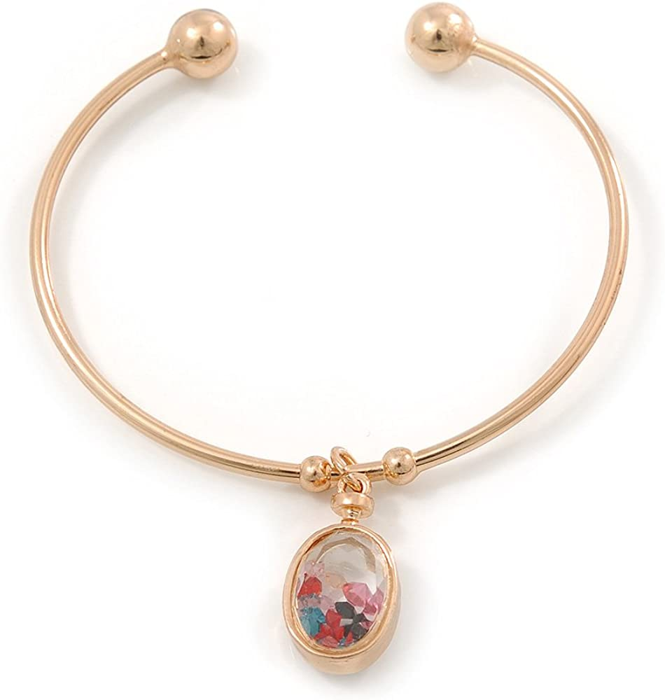Gold Tone Slip-On Cuff Bracelet with A Crystal Oval Locket Charm - 18cm L