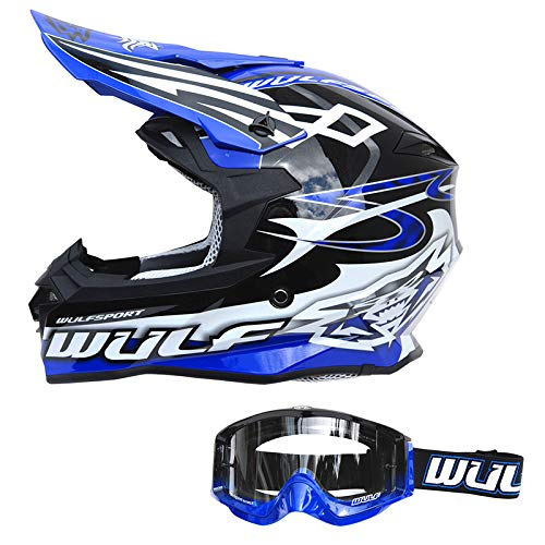 S 55-56 CM Wulf White Helmet Sceptre Adults Mx Quad ACU Gold Approved Supercross Motocross MTB Motorcycle
