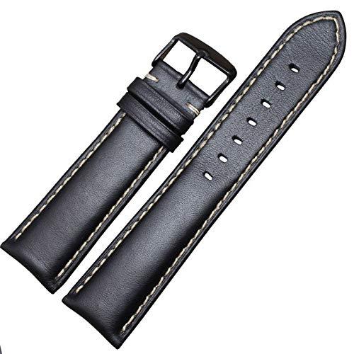 Handmade Genuine Leather Watchbands Men Women Bracelet 18-24mm Watch Band Strap Wiht Silver Polished Buckle,Black Black Buckle,18mm
