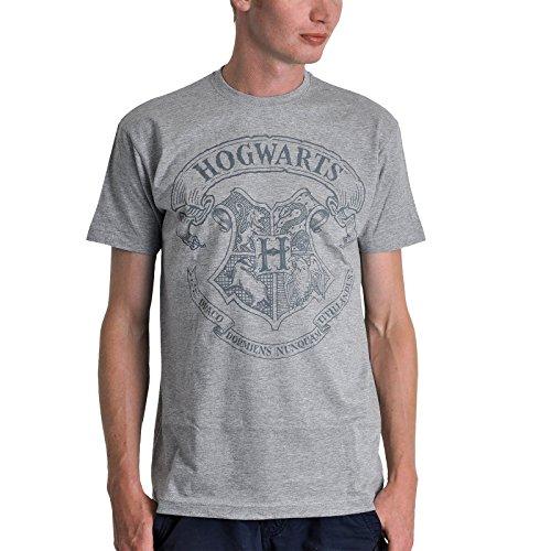 T-shirt Harry Potter logo armoiries Poudlard couleur poivre et sel - M