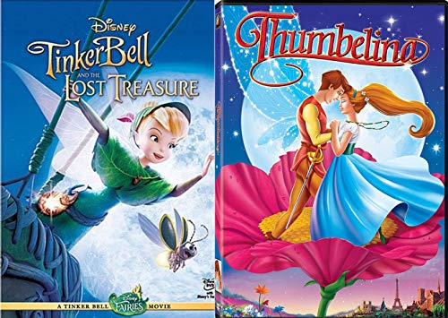 Tiny Girl Born from a Flower & A Fairy Animated Movie 2-Pack Tinker Bell & The Lost Treasure + Thumbelina Tiny Girl Set Double Feature Fun Pack