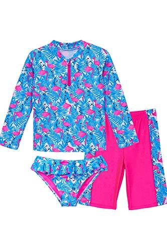 IKALI Mädchen Badeanzug Bikini, Kinder Flamingo Badebekleidung, UV-Schutz Hawaiian Palmblätter Badebekleidung