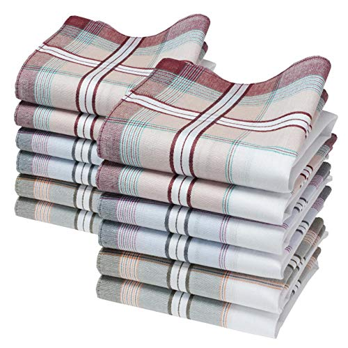 Merrysquare - Mouchoirs en Tissu Coton pour Homme - Modèle Hamilton - Grande Taille 40cm - 12 Pièces - 100% Coton