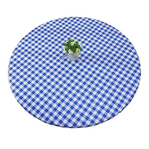 FXBNHDFMF Hule Redondo PVC Franela Mantel Limpiar con un paño Cuadritos Azul Claro (90-110 cm)