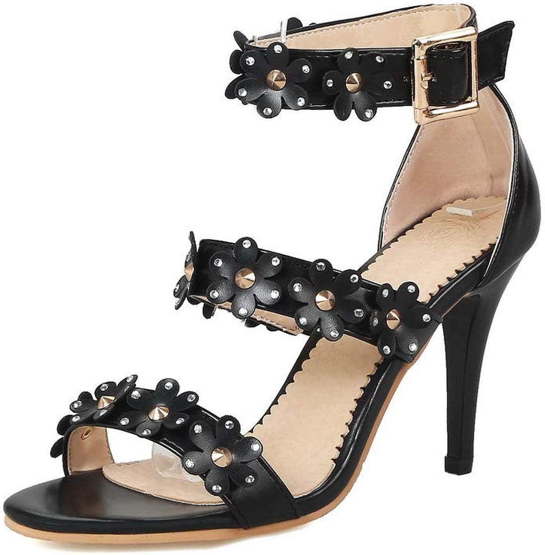 AmoonyFashion Women's Open-Toe Spikes-Stilettos PU Solid Buckle Sandals