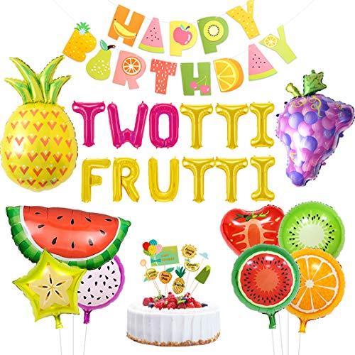 Jollyboom Twotti fruchtige Geburtstag Dekorationen Party Supplies Twotti Frutti Luftballons Cupcake Topper Trauben Ananas Wassermelone Luftballons für 2. Geburtstag Baby Shower