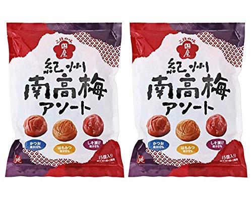 【2袋セット】もへじ 紀州南高梅 アソート 三種の味(かつお梅 はちみつ梅 しそ漬け梅) 105g × 2袋