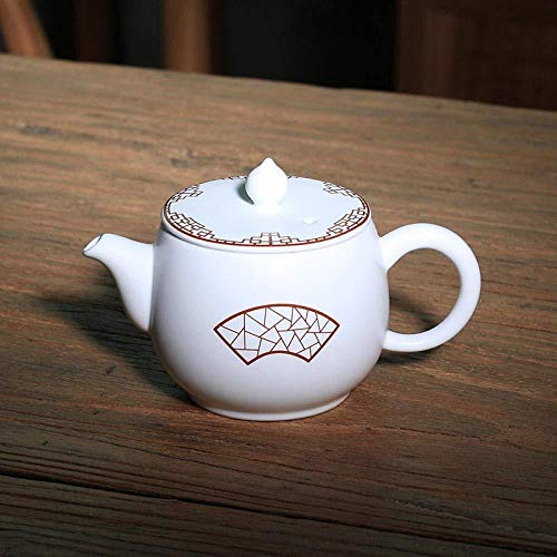 Yruog Tetera Tetera de cerámica Teteras Tetera de cerámica Bai Yaguang Ding Kiln Cerámica Kung Fu Celadon Juego de té Exfoliante de tetera Zen Zen Pot