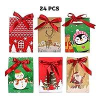 NUOBESTY リボン付きクリスマスキャンデーボックス24個入り、11.5 X 7. 5 X 16. 8 Cm段ボールクリスマスイブキャンデーボックスポータブルホリデークリスマスフェスティバルギフトボックス、チョコレート、おやつ、クッキー