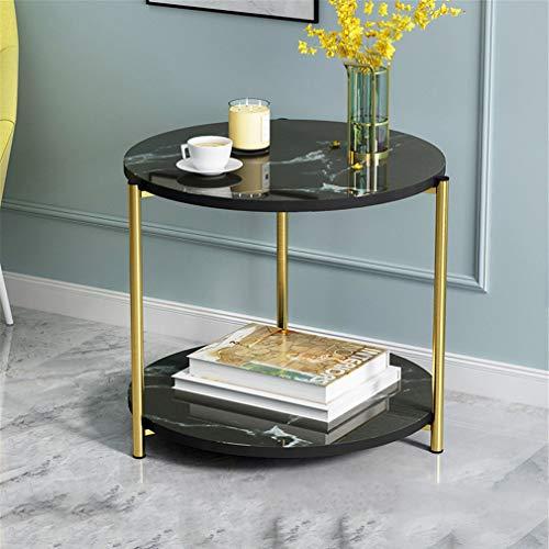 YERTYY Marmor Runde Wohnzimmer Couchtisch Leicht zu montieren Mode Anti-Rutsch für Wohnzimmer, Schlafzimmer, Küche, Büro Black