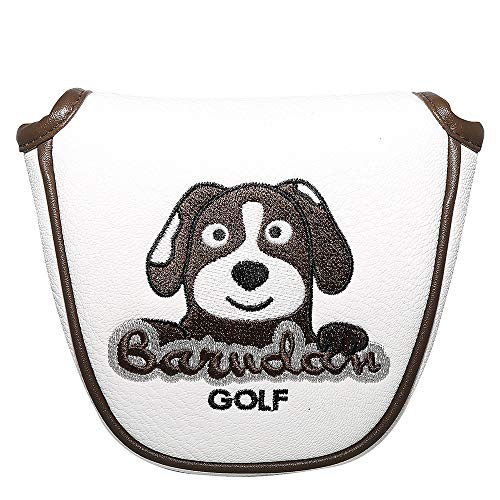 barudan golf Brown Dog Putter Cover Animal Mallet Putter Cover Headcover Magnetic White Leather Well...