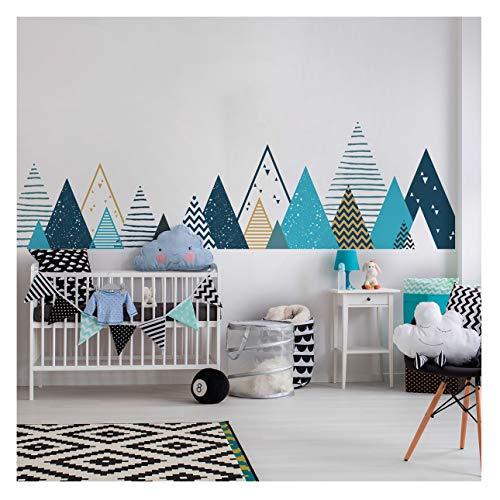 Stickers muraux enfants - Decoration chambre bébé - Stickers muraux enfant - Sticker mural scandinave - Autocollant mural géant montagnes scandinaves Tipika - H45 x L180 cm
